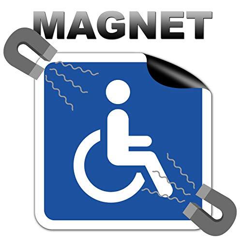 STROBO Magnetschild Rollstuhlfahrer 10 x 10 cm + 2X Aufkleber Behindertenschild Magnetfolie Auto Rollstuhl