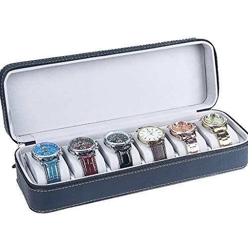 Bottes de Travail PU Cuir Coffret Boîte de Rangement Boîte à Bijoux Zipper Clamshell Simple Montre Collection Box Montre Sac - Hommes, Femmes, Cadeau Mari Bottes de sécurité (Color : A(33x11.5x8cm))