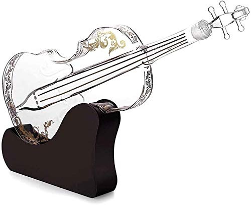 Decanter Per Vino Rosso Decanter Per Whisky Personalizzato 1000ml 3D Violino Forma Del Violino Distributore Di Whisky Per Liquori Scotch Bourbon Decanter Vodka Con Stand Vetro Artigianato Bottiglia Di