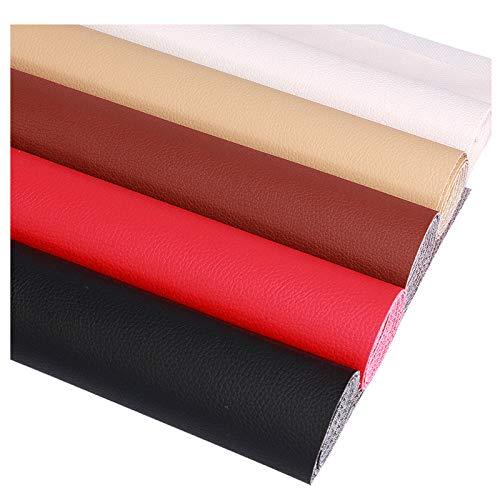 NIUFHW Tela de vinilo de cuero artificial impermeable y resistente al desgaste adecuada para hacer pendientes accesorios para el cabello DIY manualidades (color: rojo)