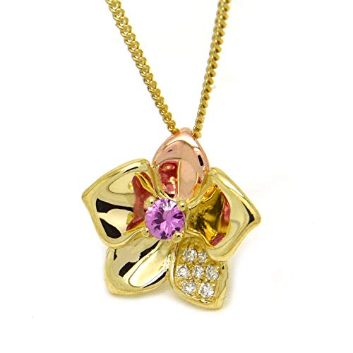 Clogau Womens Pink Sapphire Diamond 9ct Yellow Rose and Welsh Gold Orchid Pendant