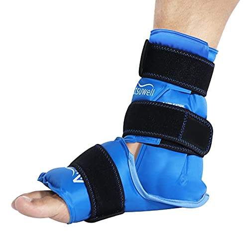 Atsuwell Ankle Ice Pack Wrap for Injuries Reusable Gel Foot Cold Pack, Instant Ice Packs with Cold Compression Therapy for Plantar Fasciitis, Achilles Tendon, Sprained Ankles Feet Pain Relief