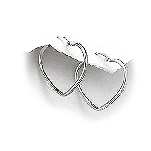Pendientes de aro con forma de corazón - de Katy clemmans tamaño grande - 925 de plata de ley
