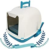 BPS Aseo Cerrado para Gato Arenero Sanitaria Bandeja Arena para Mascotas con Pala y Una Bolsa para Bandja 4 Colores Tamaños M/L (M: 47 * 36 * 37 cm, Azul 1) BPS-5706AZ1