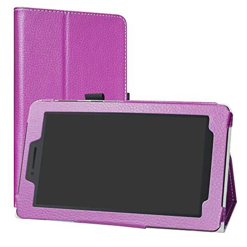 Labanema Lenovo Tab E7 Hülle, Slim Fit Folio PU Leder dünne Kunstleder Schutzhülle Cover Schale Etui Tasche für Lenovo Tab E7 (7,0 Zoll) Tablet - Violett
