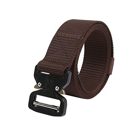 Tactical Belt Military Style Nylon Web Belt Cobra Heavy Duty Buckle & Quick-Release Metal Buckle,Belts Men Women,Dark Coffee