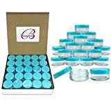 (Quantity: 100 Pieces) Beauticom 5G/5ML Round Clear Jars with TEAL Sky Blue Lids for Scrubs, Oils, Toner, Salves, Creams, Lotions, Makeup Samples, Lip Balms - BPA Free