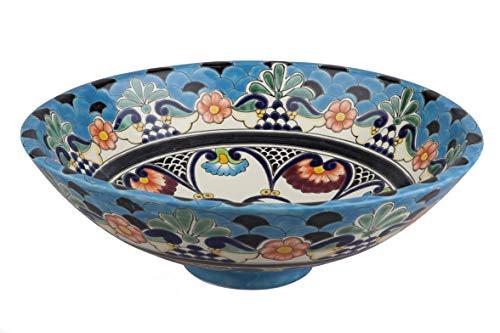 La Reina - Handgemachtes Talavera Waschbecken - Cerames | Waschschale 44 x 13,5 cm | Mexikanisches Aufsatzwaschbecken aus Keramik für Badezimmer Gäste WC