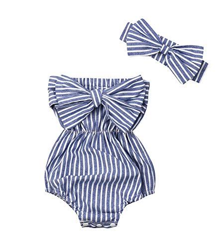 Macaquinho + faixa para cabeça florais para bebês recém-nascidas, Blue Striped, 12-18 meses