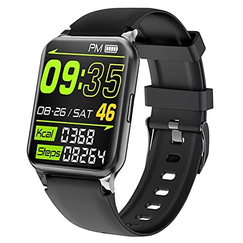 QFSLR Smartwatch Reloj Inteligente Hombre Mujer con Monitor De Frecuencia Cardíaca Seguimiento del Sueño Podómetro para iOS Android,Negro