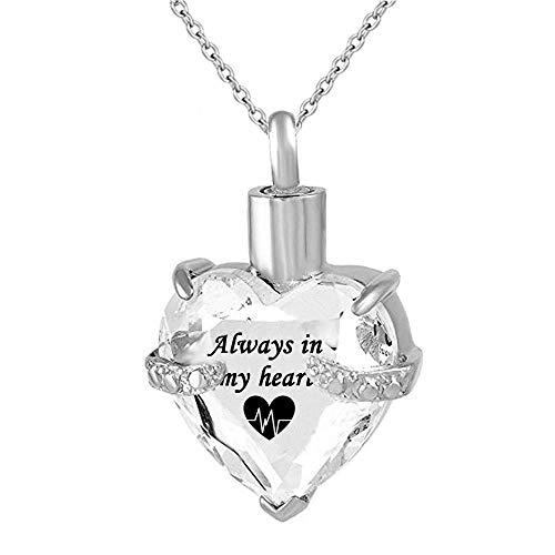 Cremación Colgante Souvenirs Souvenirs Always In My Heart Heart Cremation Jewelry Urn For Ash Neckace Birthstone Necklace Souvenirs Pendant urna cremación Collar Memorial