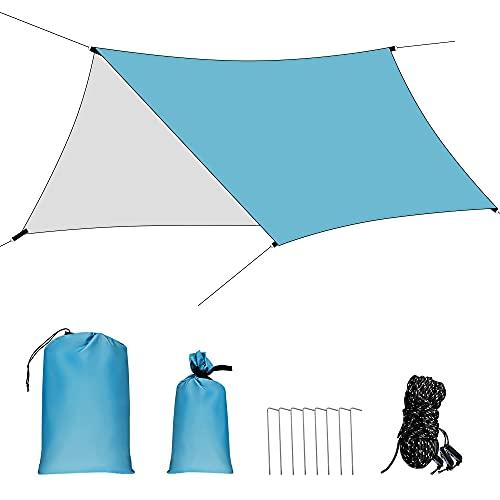 Toldo Camping Impermeable, 3x4.45M Ripstop Rain Tarp Beach Tent de Tela Oxford Impermeable de 2000 mm Hamaca Tienda de Campaña con Accesorios Protector Aolar Anti-Viento para Acampar Senderismo,Azul 🔥