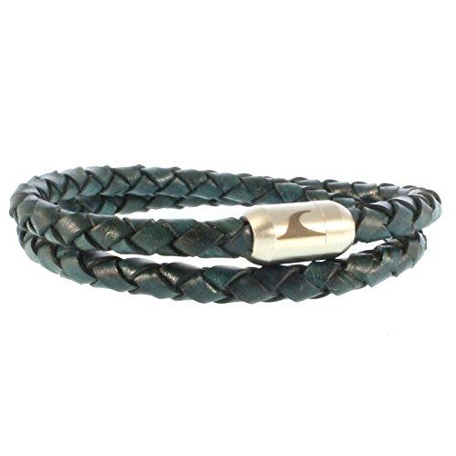 WAVEPIRATE® Echt Leder-Armband Hawaii G Grün/Silber 36 cm Edelstahl-Verschluss in Geschenk-Box Surfer Männer Herren