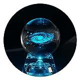 Sfera di cristallo Via Lattea con base luminosa, la sfera di vetro Via Lattea è dotata di una base a LED colorata, è un perfetto regalo di compleanno per bambini, insegnante di fisica, fidanzata