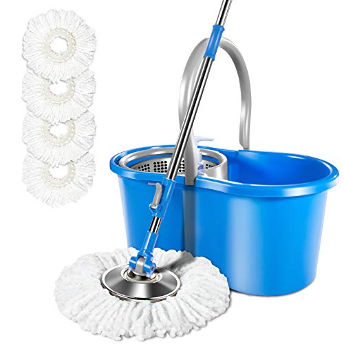 bucket with bonus mops 360 Spin Mop and Bucket Set with 4 Microfiber Mop Pads Self-Wringing Cleaning ,Mop and Bucket System with Wringer for Floor Cleaning Masthome