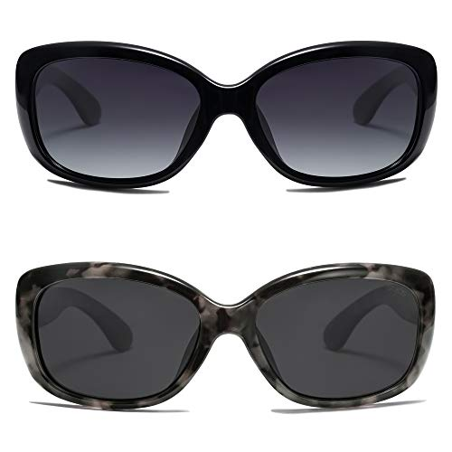 SOJOS Vintage Square Sunglasses for Women Polarized UV Protection Havana Frame SJ2111(2 Pairs of Sunglasse)