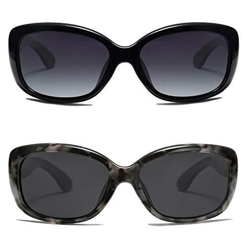 SOJOS Gafas de sol cuadradas vintage para mujer polarizadas protección UV marco Havana SJ2111