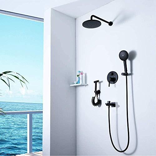 Ducha de cuatro funciones, negro, oculto, sobrealimentado, lavadora para mujer, juego de ducha con espray superior, grifo de ducha, hermoso y práctico