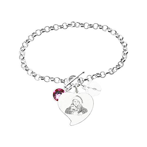 TheBigThumb Personalized Photo Sterling Silver Bangle Custom Charm Couple Bracelet Unisex Unique Christmas Valentine's Day Anniversary Ideas(Silver4-5.5')