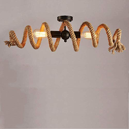 YANQING Duurzame Retro Hennep Touw Plafond Licht Vintage Antieke Industriële Plafond Licht Metalen Lamp Loft Eetkamer Bar Winkel Woonkamer Lamp E27 2 Lampen Prachtige Leven