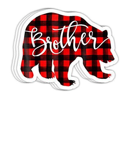 Red Plaid Brother Bear Passende Pyjama-Familie Büffel Geschenk-Dekorationen – 4 x 3 Vinyl-Aufkleber, Laptop-Aufkleber, Wasserflaschen-Aufkleber (Set von 3)