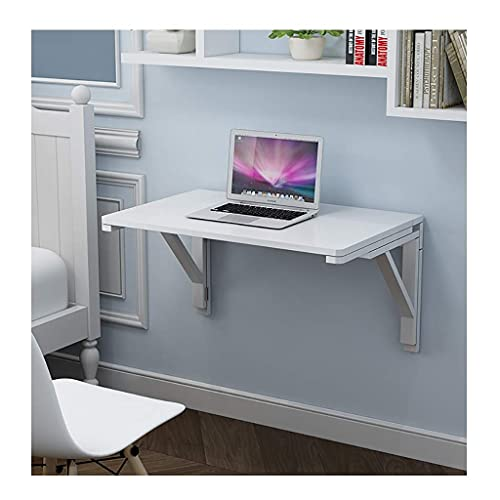 White Wall Mounted Desk, Drop Leaf Tables for Small Spaces, Wooden Fold Up Table, Stable Sturdy Construction, Folding Wall Table, Easy to Install (Color : White, Size : 50cm×80cm)