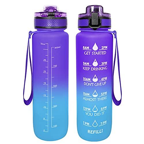 LtyTz - Borraccia per acqua da 1 l, con scala temporale e filtro rimovibile, portata rapida, a tenuta stagna, senza BPA, adatta per il fitness e all'aperto
