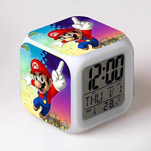 FENGHE Super Mario Uhr Super Mario Wecker Super Mario Bros. Mario Bunte Stimmung Square Clock