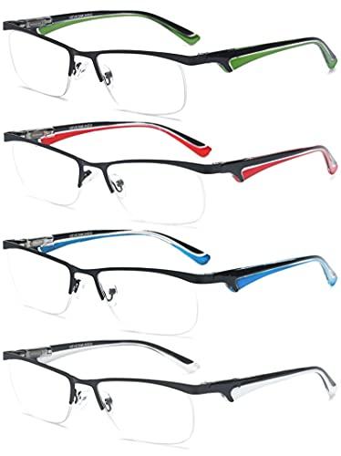 VEVESMUNDO Lesebrillen Herren Damen Metall Klassische Federn-Scharnier HalbBrille Lesehilfe Augenoptik Arbeitsplatzbrille 1.0 1.5 2.0 2.5 3.0 3.5 4.0 (+3.5, 4 Farben(Weiß+Rot+Blau+Grün))