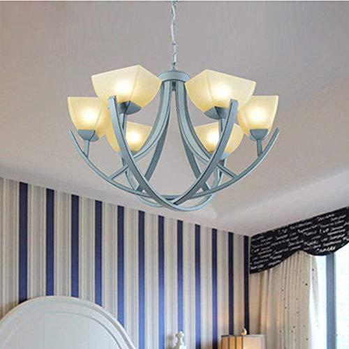 GDICONIC Lámpara de Techo Lámpara de Sala de Estar Mediterránea LED Azul Creativo Simple Restaurante Chandelier Dormitorio Estudio Lámpara de jardín Decoración