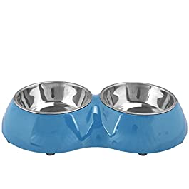 ASAB Pet Dog Cat Feeding Station Double Removable Stainless Steel Bowls Twin Dish Food Water Accessory Supplies With Non-Slip Rubber Feet Base