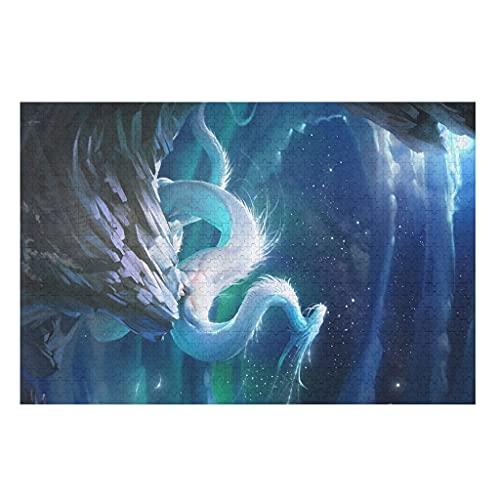 CCMugshop Divertido puzle Fantasy azul y blanco, dragón con impresión de luna, 500/1000 piezas, juguete de regalo blanco, 300 piezas