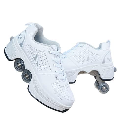 Rollschuhe,Schuhe Mit Rollen Skateboardschuhe Kinder,Quad Skate Rollerskates Für Damen,2 in 1 Inline Skates Herren,Unisex Sport Freizeit Laufschuhe Sneakers,EUR41