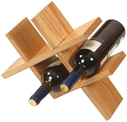 wikkeny Titular de Vino Solid Wood Rack Home Sala de Estar Decoración de Vino Decoración Creativa Botella de Vino Grid Wine Storage Organizador-B