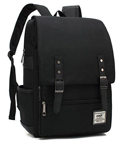MONMOB Japan Korean Style Backpack Daypack Laptop bag School Bag For Women Men/Teen Girls Boys (all black)