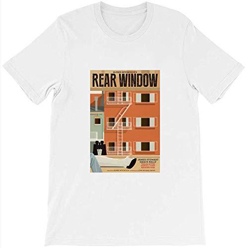 Cancer LLC Rear Window Movie Poster James Stewart Alfred Hitchcock Film Fan Graphic Gift for Men Women Girls Unisex T-Shirt (White-L)