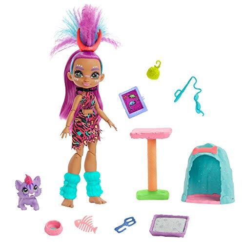 Mattel Cave Club Purr-FECT Pet Adventure Playset with Roaralai Doll (8 – 10-inch, Purple Hair),...