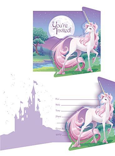COOLMP Lote de 6 Tarjetas de invitación de Unicornio mágico, tamaño único, decoración y Accesorios para Fiestas, animación, cumpleaños, Boda, Evento, Juguete, Globo