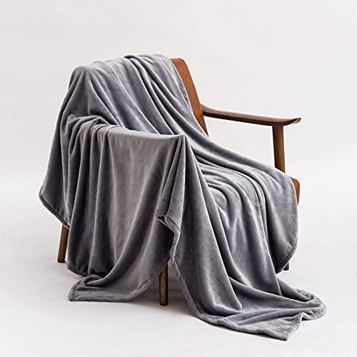 Coperta in lana, trapunta in flanella letto 180x200 cm e calda coperta grigio scuro, morbida coperta in microfibra per tutte le stagioni (grigio, 180_x_200_cm)