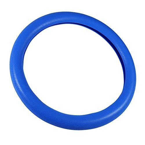 Cubierta del volante - Dirección universal antideslizante de silicona suave cubierta de la rueda del coche auto Shell protector, volante del coche cubierta del cuero genuino (Color : Azul oscuro)