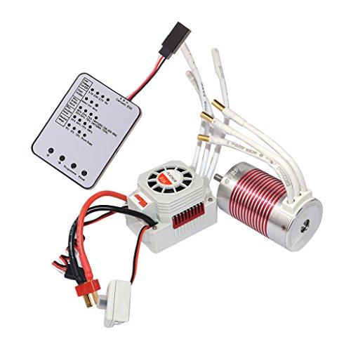 Bonarty 3660 3800KV Brushless Motor + 60A ESC + LED Programmierkarte Für 1/10 RC Scale Car Boat