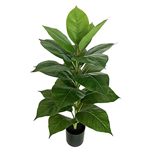 BESAMENATURE 30 Inch Little Artificial Rubber Tree Plant - Fake Ficus Tree- Faux Tropical Tree Used for Home Office Decoration, Green