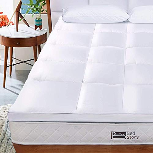 BedStory Microfibre Mattress Topper Double, Supersoft Anti Allergenic Mattress Pad 2 Inch Thick, Breathable Washable Hotel Quality Bed Topper 135x190cm, 3-Year Warranty