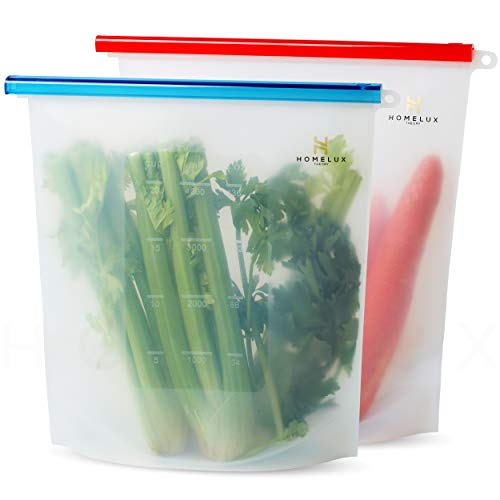 Homelux Theory Reusable Silicone Food Storage Bags Silicone Bags Reusable Bags Silicone Silicone Storage Bags Silicone Food Bags Reusable Silicone Food Bag (2 Extra Large)