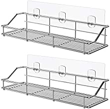 ODesign Adhesive Bathroom Shelf Organizer Shower Caddy Kitchen Spice Rack Wall Mounted No Drilling SUS304 Stainless Steel Rustproof - 2 Pack