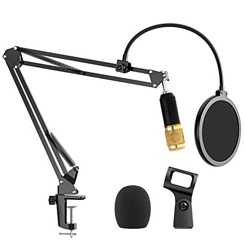 """AMADA Microphone Stand with Dual Layered Pop Filter Suspension Scissor Boom Bracket Mic Arm Stand with 3/8"""" to 5/8"""" Adapter for Blue Yeti, Snowball, Spark, Yeti x and All Other Microphones"""
