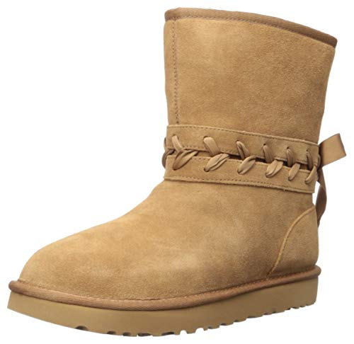 UGG Women's Classic LACE Short Fashion Boot, Chestnut, 6 M US
