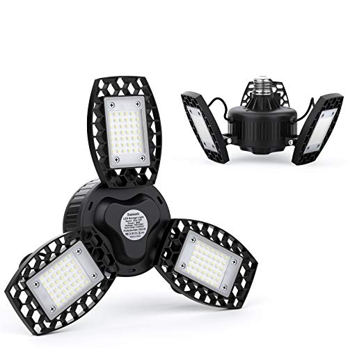 Sunmerit 2 Pack LED Garage Lights, 6500 Lumens, Aluminum Deformable Panels, 6000K CRI 85 Ceiling Shop Lights for Garage Warehouse, E26/E27 Screw in Bulb 65W, Adjustable Glow Lighting
