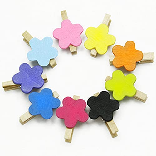 fafafa Pinzas para ropa de 50 piezas Mini madera Artesanía Color Estrella Ropa Tarjeta Fog Memo Clips Pinzas Pinzas de ropa Color Mezclado (Color: B 50pcs)