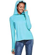 Ogeenier UPF 50+ T-shirt met lange mouwen, uv-bescherming tegen de zon, sport, hardlopen, golffietsen, hoodie met duimgat